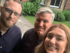Tom, James and Hannah networking at Heatherfield House